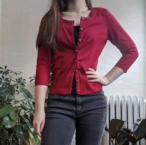 White House Black Market Red Cardigan Buttons